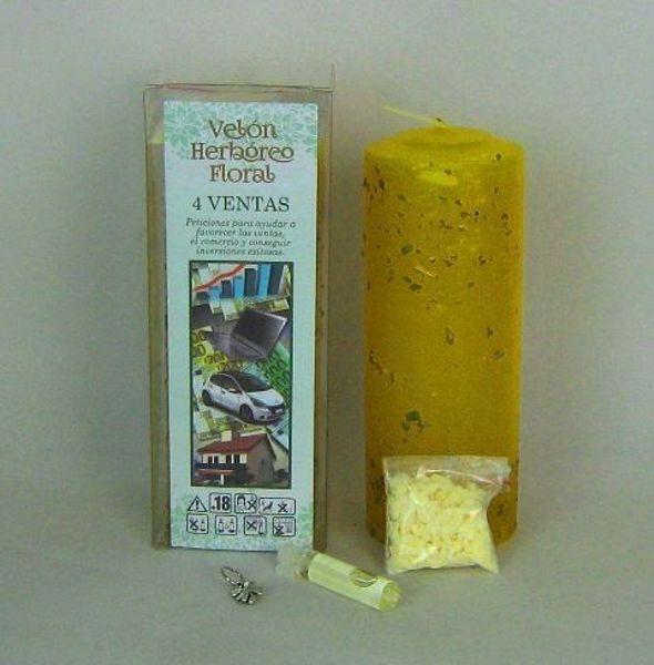 Imagen de Velón herbóreo floral 4 ventas: manteca y amuleto