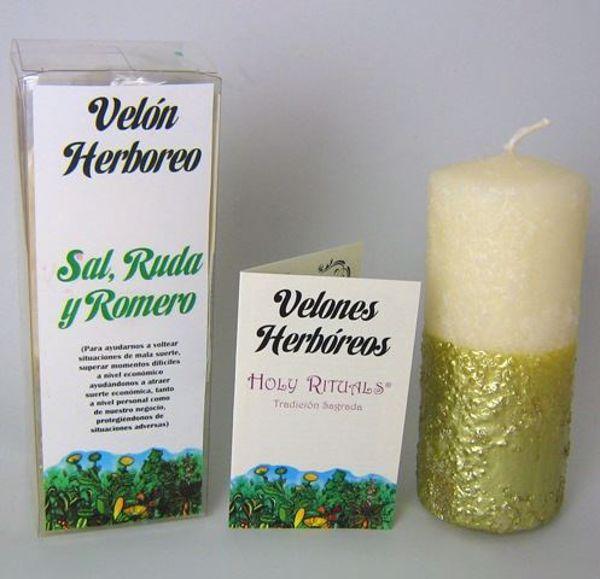 Imagen de Velón herbóreo blanco-dorado con Sal, Ruda y Romero